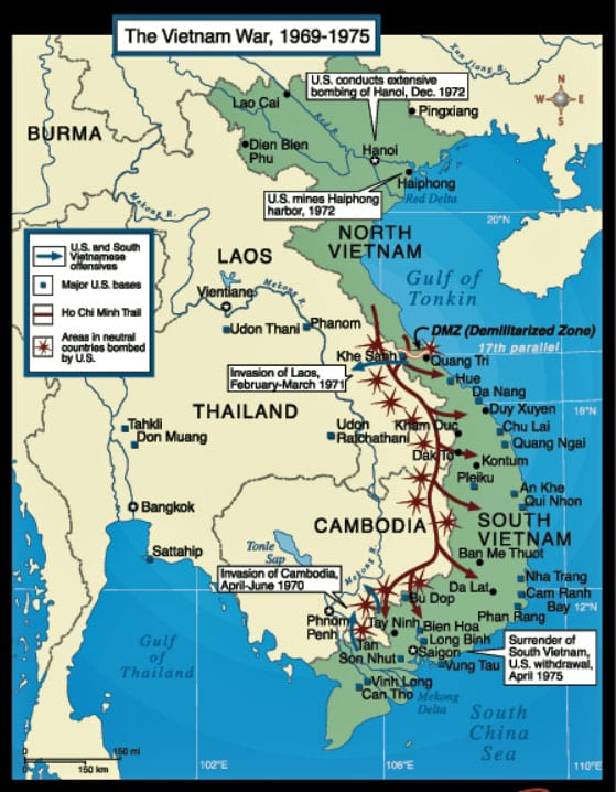 Vietnam Map: Theater of Operations Between 1965 and 1973